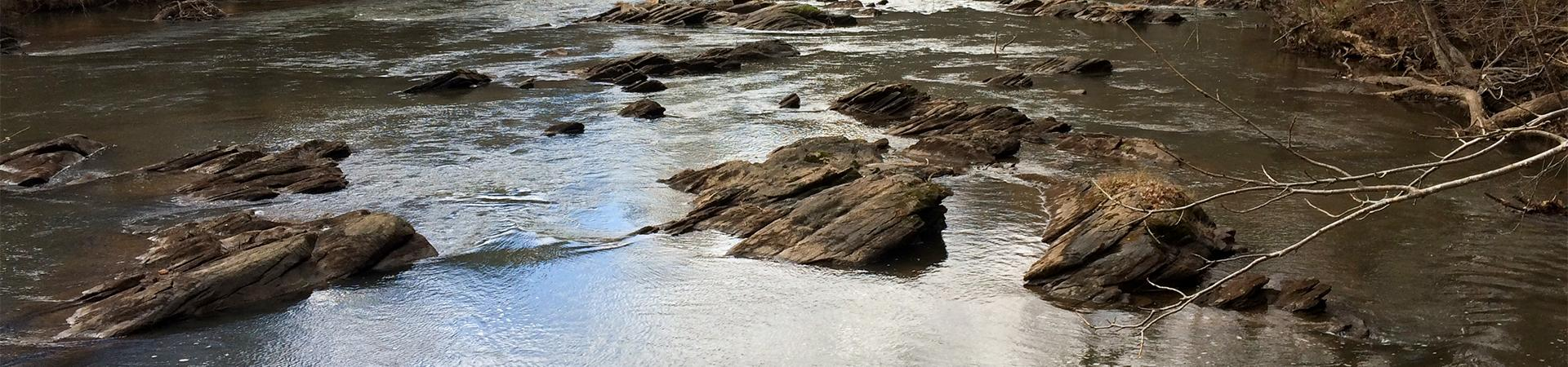 rocks in a river on Mcgraw Ford WMA