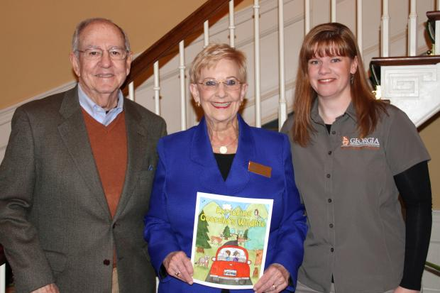 First Lady Sandra Deal with Linda May of Georgia DNR and Brooks Schoen, TERN president. Mrs. Deal holds a copy of the Exploring Georgia's Wildlife coloring book.